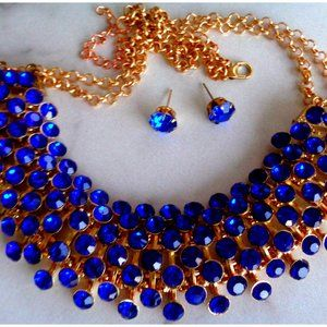 10K GOLD FINISHED SAPPIER BLUE LADY'S NECKLACE SET